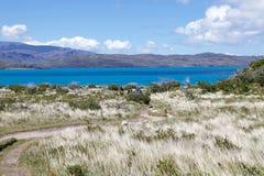 Arraste a Grey Hut no parque nacional de Torres del Paine, região de Magallanes, o Chile do sul imagens de stock