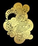 Arrastre con la flor y el vector japonés del diseño del tatuaje de la nube Fotografía de archivo