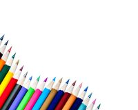 Array of Color Pencils Isolated on White Background Stock Images