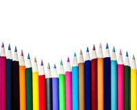 Array of Color Pencils Isolated on White Background Royalty Free Stock Photography