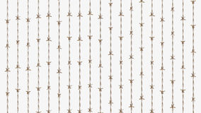 Array of Copper Barbed Wire. Ordered array of clean barbed wire on a simple background. This image is a 3d illustration Stock Photo