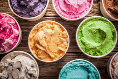 Array of different flavored colorful ice cream Royalty Free Stock Image