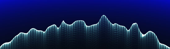 Array with Dynamic Emitted Particles. 3D Technology Style. A Glowing Grid. Abstract Background. Vector Illustration. Stock Photos