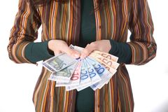 Array of euro bills Stock Image