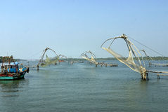 Array of fishing nets- Chinese type Stock Photos