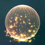 Array Of Glowing Points In Form Of Distorted Surface. Abstract Colorful Cyber Background. Splash Particles. Connection Structure. Futuristic Technology Style Stock Photography
