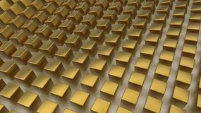 Array of golden cubes Stock Photography