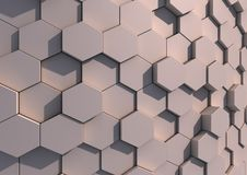 An array of hexagons. Abstract gray background composed of close packed hexagons with texture Royalty Free Stock Photography