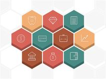 An array of hexagons bearing symbols Royalty Free Stock Photography