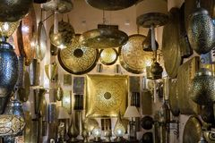 Selection of luxury lamps for sale in the market square souq of Marrakesh stock image