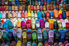 Selection of Shoes for sale in the market square souq of Marrakesh stock photography