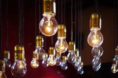 Array of light bulbs on black Stock Photos