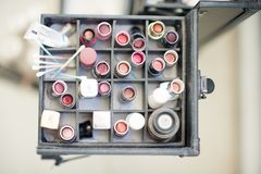 An array of lipstick and other make up as part of a makeup kit o stock photo