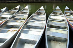 Array of metal punt in the river in Cambridge, England, UK Stock Photos
