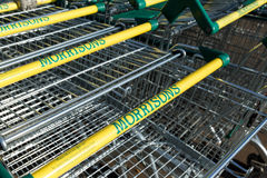 Array of Morrisons supermarket trollies Royalty Free Stock Image