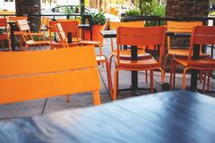 Restaurant patio area royalty free stock images