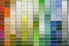 Paint Color Chips in Many shades. Array of paint color chip samples ranging from reds, blues, greens, and yellows stock images