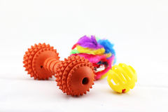 An array of pet toys. Several colourful pet toys for any animal stock photo