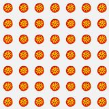 Array of pizzas on white background for gift card, product advertisement, or web graphics. Tiled set of pepperoni pizzas for gift card, graphics design, web Royalty Free Stock Photography