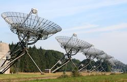 An array of radio telescopes in the Netherlands. The Westerbork Synthesis Radio Telescope (WSRT) in the Netherlands is an aperture synthesis interferometer that royalty free stock image