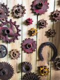 An array of rusty vintage gears Stock Photo