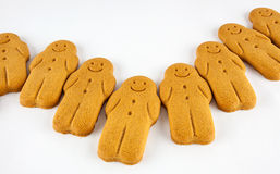 Array of smiling gingerbread cookies Stock Photos