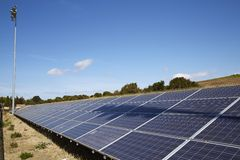 Array of solar energy boards Royalty Free Stock Images