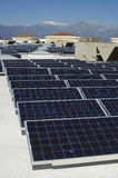 Array Of Solar Panels. Array of photovoltaic cells at solar power plant royalty free stock image