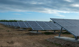 Array of solar panels in new solar farm Royalty Free Stock Photo