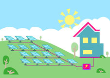 An array of solar powered cell converting sun energy  into electricity for homes. Editable Clip art. Stock Image