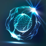 Array With Splash Particles. Dots Array And Lines. Digital Abstract Background With Glowing Halftone, 3D Vector Illustration. Stock Images