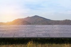 Array of thin film solar cells or amorphous silicon solar cells in solar power plant turn up skyward absorb the sunlight from the. Close up array of thin film stock photo