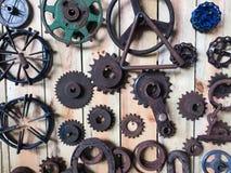 Dozens of rusty mechanical gears Stock Photos
