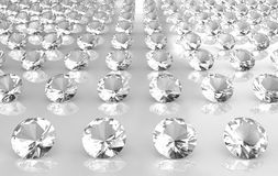 Array of white brilliant cut round diamonds. 3D Royalty Free Stock Photos