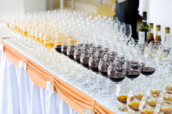 Array of wineglasses, selective focus royalty free stock photos