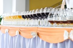 Array of wineglasses, selective focus Stock Photo