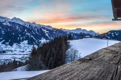 Arrebol da tarde Lasörlinggroup Matrei em Osttirol Fotografia de Stock Royalty Free