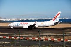 ARRECIFE, ΙΣΠΑΝΙΑ - 2 ΔΕΚΕΜΒΡΊΟΥ 2016: Boeing 737 - 800 AirEuropa στο Λ Στοκ Εικόνες