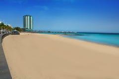Arrecife παραλία Playa del Reducto σε Lanzarote Στοκ εικόνα με δικαίωμα ελεύθερης χρήσης