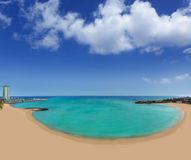 Arrecife beach Playa del Reducto in Lanzarote. At Canary Islands Stock Photos