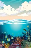 Arrecife de coral colorido con la escuela de pescados y del cielo de la puesta del sol con las nubes de cúmulo Ejemplo del paisaj ilustración del vector