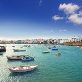 Arrecife in Lanzarote Charco de San Gines boats Royalty Free Stock Photos