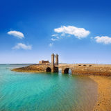 Arrecife Lanzarote kasteel en brug Stock Fotografie
