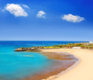 Arrecife Lanzarote Playa del Reducto beach. Aerial   view in Canary Islands Royalty Free Stock Image