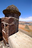 Arrecife  lanzarote  spain the old wall castle  sentry Royalty Free Stock Photo