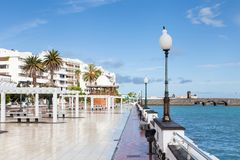 Arecife Waterfront on the Island of Lanzarote. The Arrecife waterfront on Avenida La Marina, on the island of Lanzarote Royalty Free Stock Photos