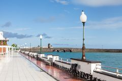 Arrecife Waterfront on the Island of Lanzarote. The Arrecife waterfront on Avenida La Marina, on the island of Lanzarote Stock Image