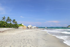 Arrecifes plaża, Tayrona park narodowy, Kolumbia Obraz Stock