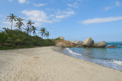 Arrecifes strand, Tayrona nationalpark, Colombia Royaltyfri Fotografi