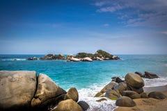 Arrecifes strand - Tayrona naturlig nationalpark, Colombia Royaltyfri Foto